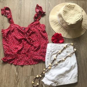 Express red polka dot tank top